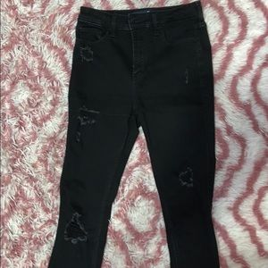 women's black ripped super skinny jeans